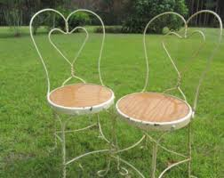 Wrought Iron Bistro Chairs Vintage Ice Cream Patio Furniture Etsy