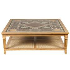 Marble Top Sofa Table by Cerused Mahogany Coffee Table With Inlaid Marble Top And Cane