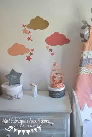 d orer chambre fille stickers décoration chambre fille bébé nuage étoiles papillons pêche
