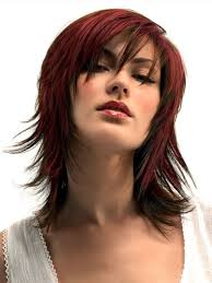 rihanna red wavy bob haircut in medium hair length women medium