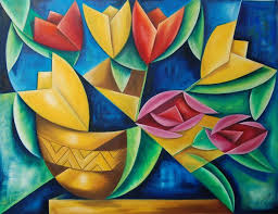 cubism flower painting cubism flower pencil and in color cubism flower