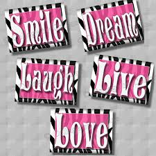 zebra print wall art decor pink smile dream live laugh love zoom
