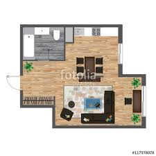 Apartment Dining Table Architectural Color Floor Plan Studio Apartment Vector