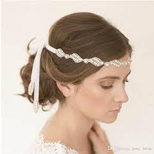 bridal headband sparking rhinestone bridal headbands ribbon tie