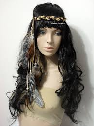 feather headband brown indian headress feather headdress feather crown crown