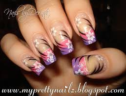 pink and purple ombre french tips with flowers and tribal pattern