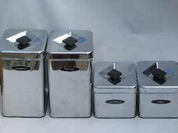 retro kitchen canisters set 50s 60s vintage kitchen canisters mod silver chrome canister set
