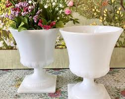 milk glass vase etsy