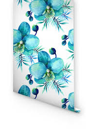 blue orchid flower blue orchid flower pattern removable wallpaper gorgeous look on