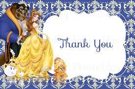 belle beauty u0026 the beast thank you card disney princess