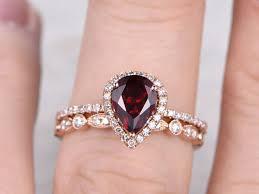 Diamond Wedding Ring Sets by 2pcs Garnet Bridal Ring Set Diamond Wedding Band Rose Gold Art