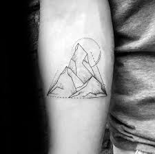 20 geometric mountain small tattoo designs for men on hand
