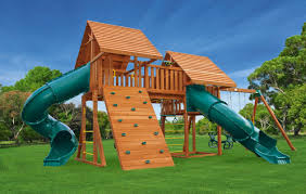 Backyard Playground Slides by Fantasy 6 Large Backyard Playset Eastern Jungle Gym