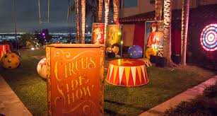 Unique Wedding Rentals Los Angeles Ominous Vintage Carnival Freakshow Kristin Banta Events Los