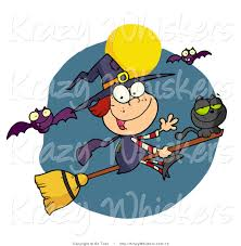 vector critter clipart of a happy halloween witch and cat flying