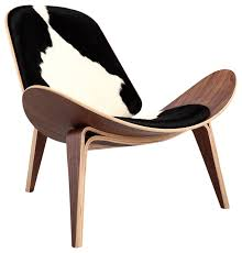 Accent Chairs Black And White Tripod Plywood Lounge Chair Genuine Cowhide With Walnut Base