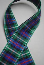 plaid ribbon green blue black and white plaid ribbon 2 yards trim 1