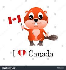 beaver canadian flag words love canada stock vector 570332092
