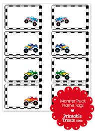 printable monster name tags printable monster truck name tags printable treats com