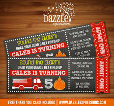 printable fire truck chalkboard ticket birthday invitation