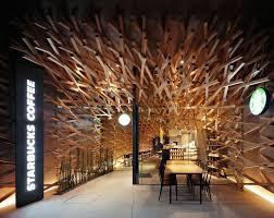 wooden starbucks interior design in fukuoka by kengo kuma and