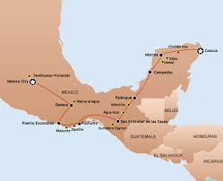 Mexico Cancun Map by Start Mexico City End Cancun D