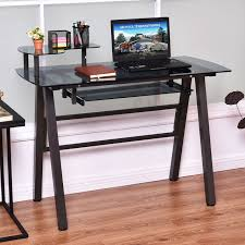 Glass Topped Computer Desk Giantex Office Glass Top Computer Desk Modern Pc Laptop Table Home