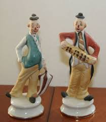 two vintage bisque hobo clown figurines by brinn s pgh pa u s a