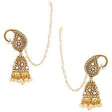 jhumka earrings with chain indian jhumka earrings indian jewellery ethnic indian