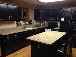 by dark brown wooden islands dark kitchen cabinets granite beige