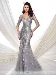 sequin trumpet dress with illusion 3 4 sleeve