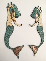 Copper Wall Decor by Mermaid Wall Decor With Copper Leaf Accents Decorative Mermaid