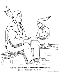 Indian Thanksgiving Pilgrims Coloring Pages Thanksgiving