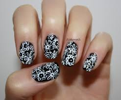 nail designs black and white flowers gel nails nail art gallery