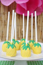 pineapple cake ball pops hawaiian theme birthday party hawaiian