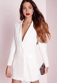 white dress sleeve blazer dress white missguided