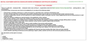 retail customer service associate work experience certificate