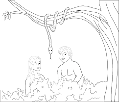 adam and eve and the snake coloring page