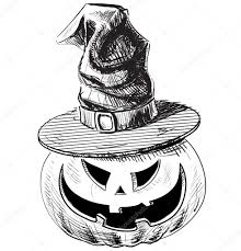 halloween pumpkin in magic witch hat with evil scary smile u2014 stock