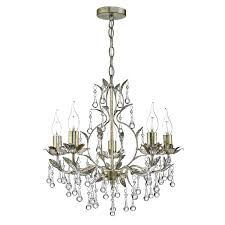 Chandelier Lights Uk by Laquila 5 Light Chandelier Antique Gold U0026 Silver Crystal Droppers
