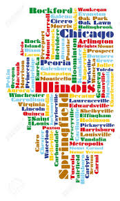 Map Of Chicago Illinois by Word Cloud Map Of Illinois State Usa Royalty Free Cliparts