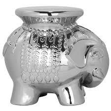 shop safavieh 16 8 in silver ceramic elephant garden stool at
