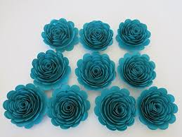 teal roses teal roses set of 10 large paper flowers 3