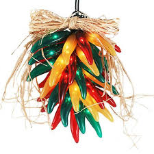 Chili Pepper Christmas Ornaments - fiesta chili pepper ristra wreath lights red green and yellow