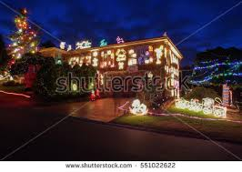 home decorated lighted christmas new year stock photo 118136128
