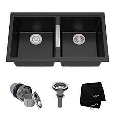kraus 28 inch undermount sink kraus kgu 434b 33 inch undermount 50 50 double bowl black onyx