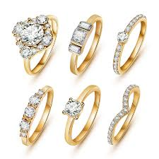 girls gold rings images 6pcs set hot shiny gold color crystal austrian zircon rings set jpg