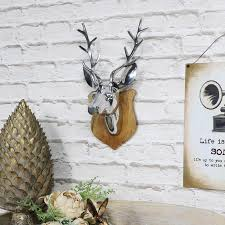 wall mounted silver stag on wooden shield melody maison