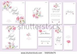 template cards set watercolor rowan tree stock illustration