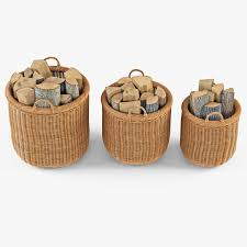 wicker basket 7 toasted oat color with firewood 3d model max obj
